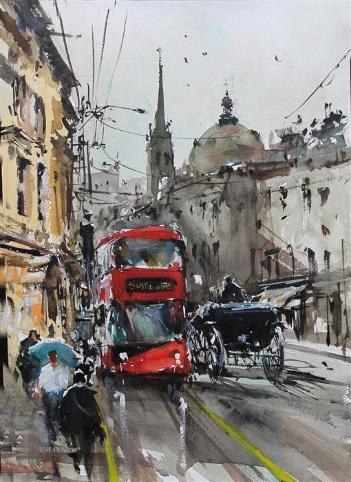 Original art for sale at UGallery.com | London Old and New by Maximilian Damico | $650 | watercolor painting | 11.5' h x 8.5' w | ..\art\watercolor-painting-London-Old-and-New