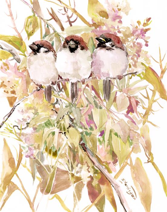 Original art for sale at UGallery.com | Sparrows on the Tree, Soft Shades by Suren Nersisyan | $300 | watercolor painting | 14' h x 11' w | ..\art\watercolor-painting-Sparrows-on-the-Tree-Soft-Shades