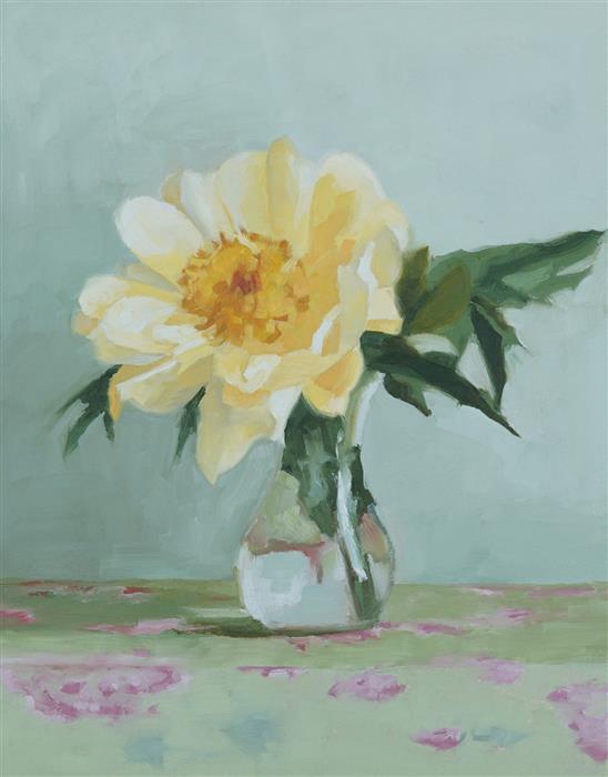 Original art for sale at UGallery.com | Peony III by Nicole Lamothe | $475 | oil painting | 14' h x 11' w | ..\art\oil-painting-Peony-III