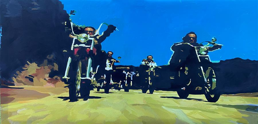 Original art for sale at UGallery.com | Not a Scout Troop by Keith Thomson | $1,875 | mixed media artwork | 20' h x 40' w | ..\art\mixed-media-artwork-Not-a-Scout-Troop