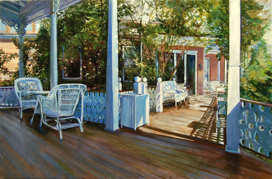 Original art for sale at UGallery.com | Cape May Porch: Angel of The Sea by Onelio Marrero | $2,050 | oil painting | 24' h x 36' w | ..\art\oil-painting-Cape-May-Porch-Angel-of-The-Sea
