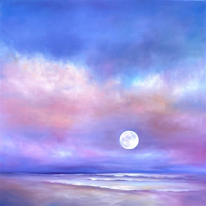 Original art for sale at UGallery.com | Moonrise Beach by Nancy Hughes Miller | $3,175 | oil painting | 40' h x 40' w | ..\art\oil-painting-Moonrise-Beach