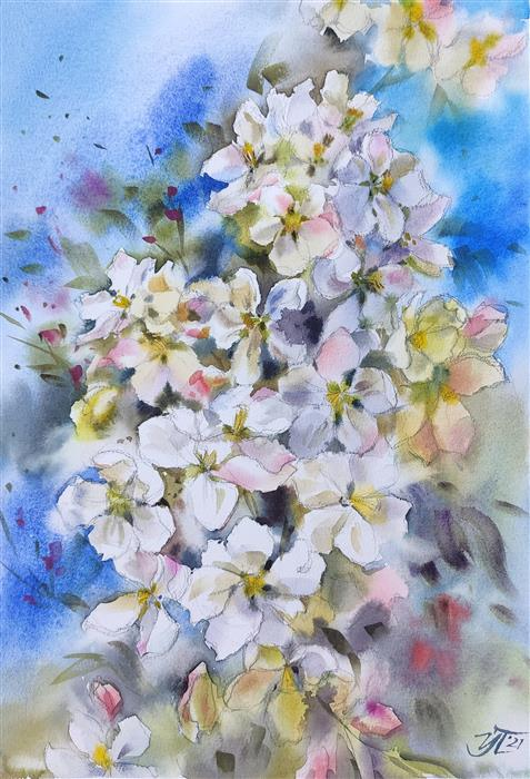 Original art for sale at UGallery.com | The Smell of Spring by Irina Pronina | $500 | watercolor painting | 15' h x 10' w | ..\art\watercolor-painting-The-Smell-of-Spring