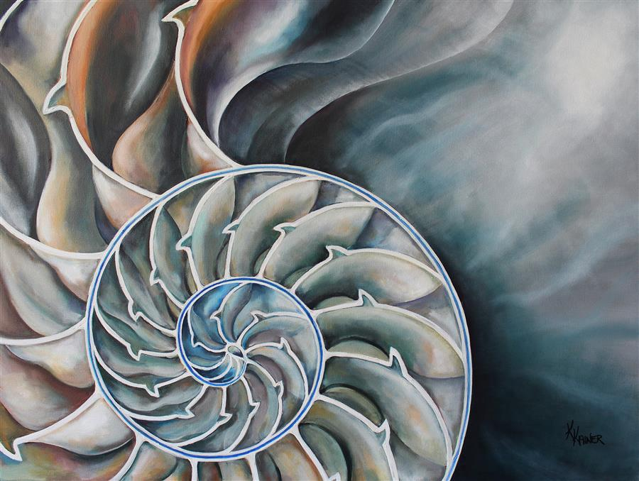 Original art for sale at UGallery.com | Nautilus Interior by Kristine Kainer | $3,875 | oil painting | 30' h x 40' w | ..\art\oil-painting-Nautilus-Interior