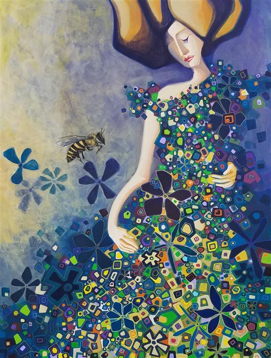 Original art for sale at UGallery.com | The Walk in the Field of Flowers by Diana Elena Chelaru | $2,800 | acrylic painting | 48' h x 36' w | ..\art\acrylic-painting-The-Walk-in-the-Field-of-Flowers