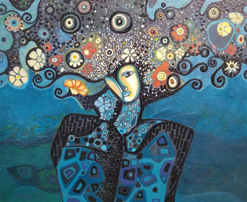 Original art for sale at UGallery.com | Woman Meditating by Diana Elena Chelaru | $800 | mixed media artwork | 16' h x 20' w | ..\art\mixed-media-artwork-Woman-Meditating