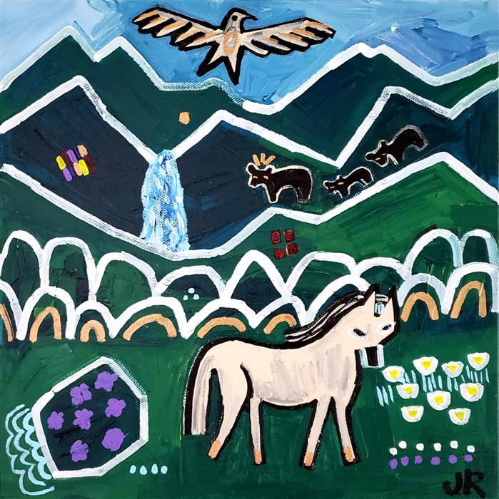 Original art for sale at UGallery.com   Blue Ridge Pony by Jessica JH Roller   $450   acrylic painting   12' h x 12' w   ..\art\acrylic-painting-Blue-Ridge-Pony