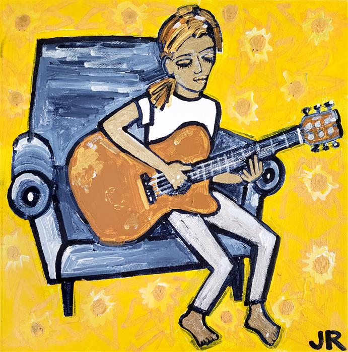 Original art for sale at UGallery.com | Girl Playing Guitar by Jessica JH Roller | $475 | acrylic painting | 12' h x 12' w | ..\art\acrylic-painting-Girl-Playing-Guitar