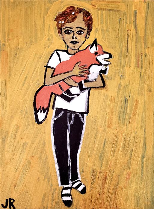 Original art for sale at UGallery.com | Fox by Jessica JH Roller | $725 | acrylic painting | 16' h x 12' w | ..\art\acrylic-painting-Fox-71720