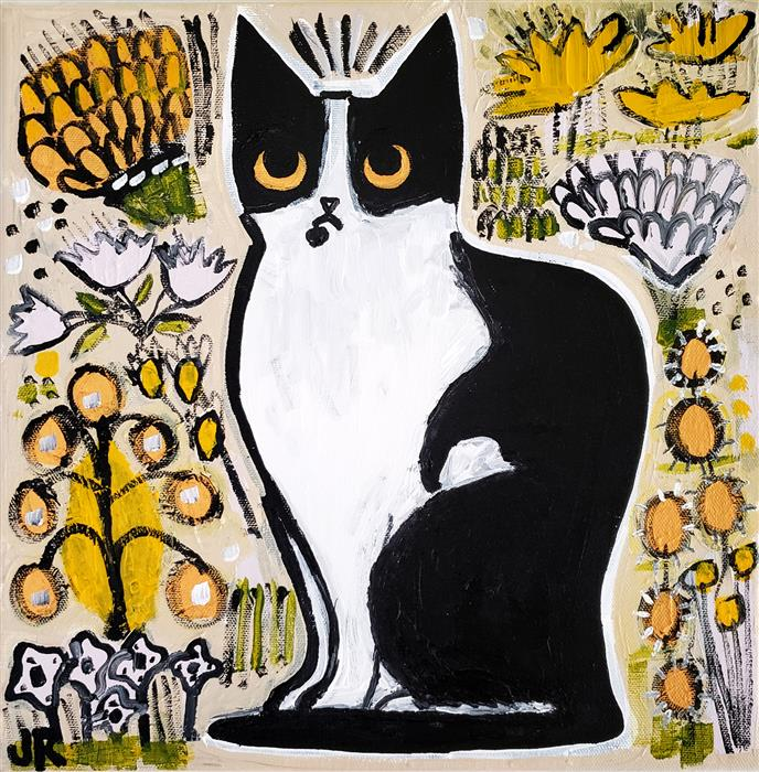 Original art for sale at UGallery.com | Cat in the Garden by Jessica JH Roller | $525 | acrylic painting | 12' h x 12' w | ..\art\acrylic-painting-Cat-in-the-Garden