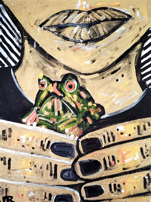 Original art for sale at UGallery.com | Girl with Frog by Jessica JH Roller | $375 | acrylic painting | 12' h x 8' w | ..\art\acrylic-painting-Girl-with-Frog