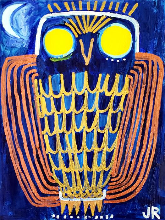 Original art for sale at UGallery.com | Metallic Owl by Jessica JH Roller | $575 | acrylic painting | 16' h x 12' w | ..\art\acrylic-painting-Metallic-Owl
