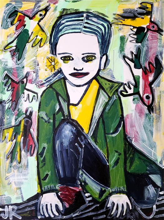 Original art for sale at UGallery.com   Spring Jacket by Jessica JH Roller   $625   acrylic painting   16' h x 12' w   ..\art\acrylic-painting-Spring-Jacket