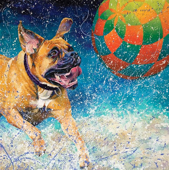 Original art for sale at UGallery.com | Pawsitive Energy by Jeff Fleming | $2,300 | oil painting | 36' h x 36' w | ..\art\oil-painting-Pawsitive-Energy