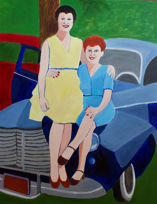 Original art for sale at UGallery.com   Mom & Eva by Toni Silber-Delerive   $2,075   acrylic painting   28' h x 20' w   ..\art\acrylic-painting-Mom-Eva