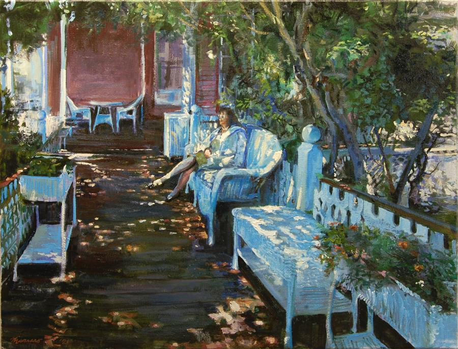 Original art for sale at UGallery.com | Bed and Breakfast Porch by Onelio Marrero | $1,125 | oil painting | 18' h x 24' w | ..\art\oil-painting-Bed-and-Breakfast-Porch
