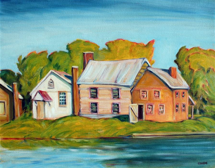 Original art for sale at UGallery.com | Old Bedford Village, PA by Doug Cosbie | $425 | oil painting | 14' h x 18' w | ..\art\oil-painting-Old-Bedford-Village-PA