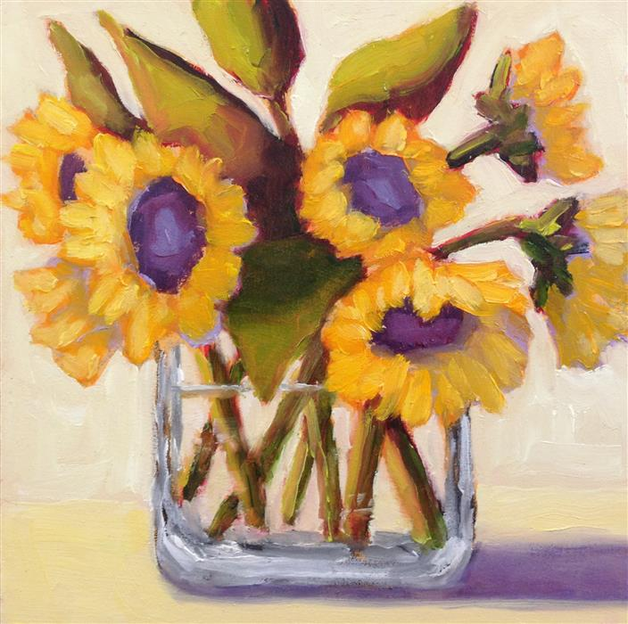 Original art for sale at UGallery.com | Sunflowers in Vase II by Pat Doherty | $225 | oil painting | 6' h x 6' w | ..\art\oil-painting-Sunflowers-in-Vase-II