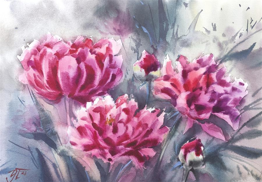 Original art for sale at UGallery.com | Peonies of Bordeaux by Irina Pronina | $500 | watercolor painting | 10' h x 15' w | ..\art\watercolor-painting-Peonies-of-Bordeaux