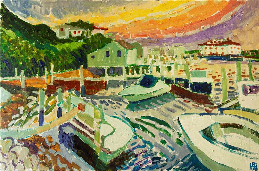 Original art for sale at UGallery.com   Menemsha Sunset by Robert Hofherr   $1,125   acrylic painting   20' h x 30' w   ..\art\acrylic-painting-Menemsha-Sunset