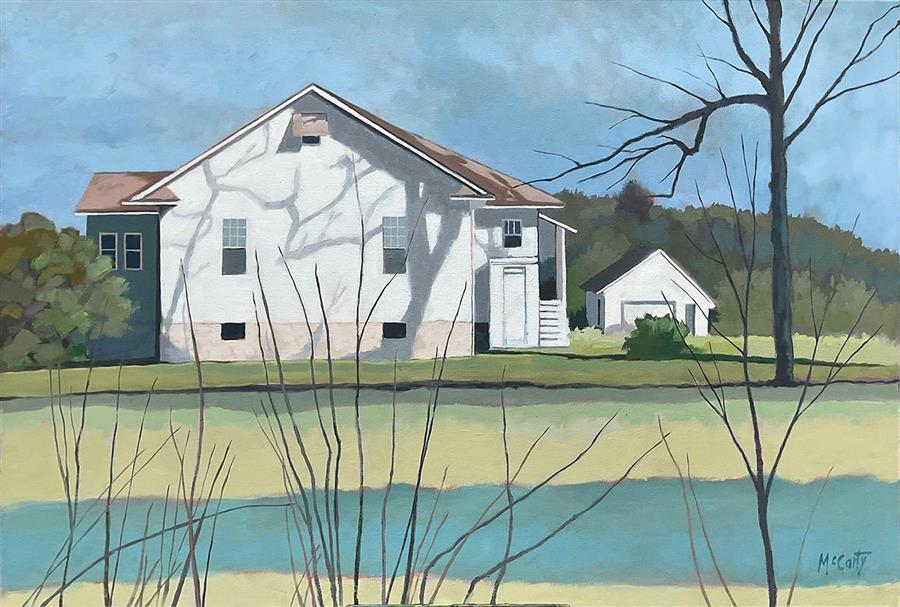 Original art for sale at UGallery.com | Country White House by Brian McCarty | $800 | oil painting | 24' h x 36' w | ..\art\oil-painting-Country-White-House