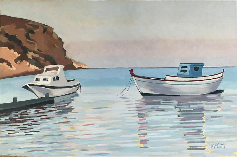 Original art for sale at UGallery.com   Two Boats by Brian McCarty   $800   oil painting   24' h x 36' w   ..\art\oil-painting-Two-Boats-71765