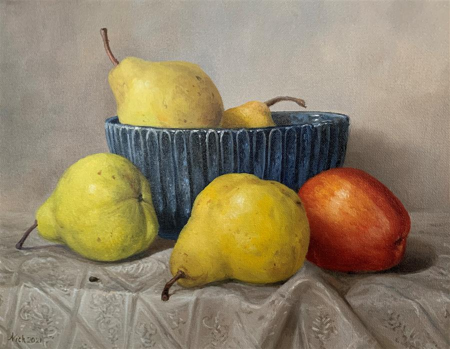 Original art for sale at UGallery.com | Still Life with Blue Bowl by Nikolay Rizhankov | $775 | oil painting | 11' h x 14' w | ..\art\oil-painting-Still-Life-with-Blue-Bowl-71766