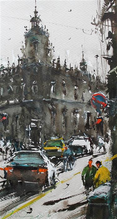 Original art for sale at UGallery.com   Barcelona Streets by Maximilian Damico   $600   watercolor painting   15' h x 9' w   ..\art\watercolor-painting-Barcelona-Streets