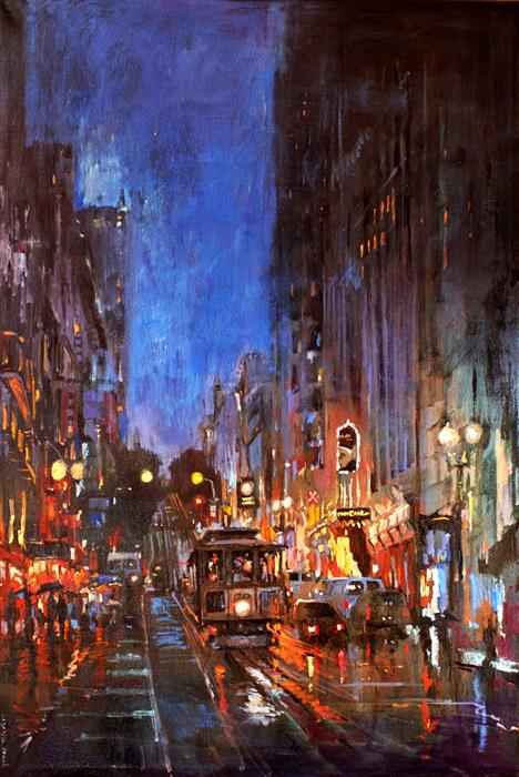 Original art for sale at UGallery.com   Powell Street in San Francisco After Rain by Yuvak Tuladhar   $4,200   oil painting   54' h x 36' w   ..\art\oil-painting-Powell-Street-in-San-Francisco-After-Rain