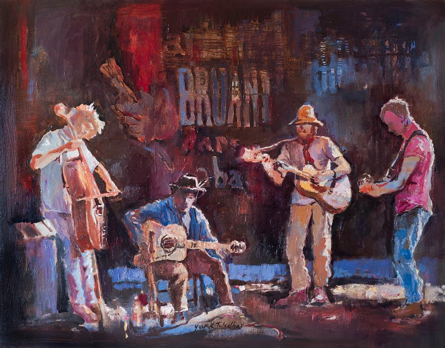 Original art for sale at UGallery.com | Spontaneous Jamming by Yuvak Tuladhar | $1,900 | oil painting | 28' h x 36' w | ..\art\oil-painting-Spontaneous-Jamming