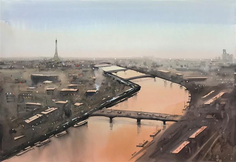 Original art for sale at UGallery.com | Paris in Twilight by Swarup Dandapat | $750 | watercolor painting | 15' h x 22' w | ..\art\watercolor-painting-Paris-in-Twilight