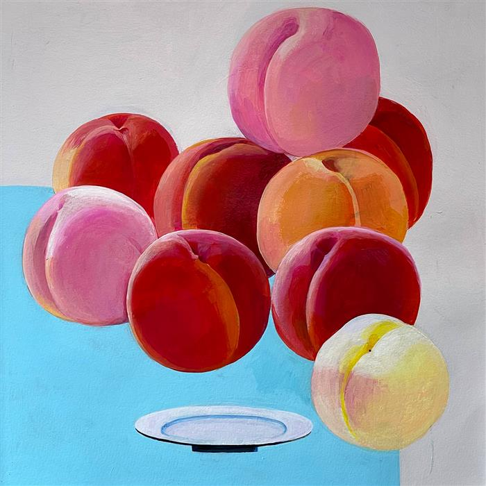 Original art for sale at UGallery.com | Tumbling Peaches by Ziui Vance | $700 | acrylic painting | 16' h x 16' w | ..\art\acrylic-painting-Tumbling-Peaches