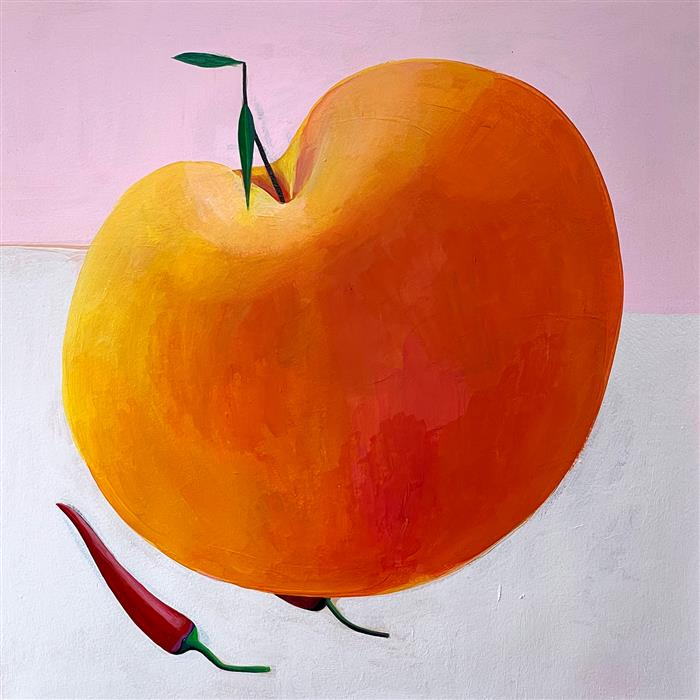 Original art for sale at UGallery.com   Peach N' Peppers by Ziui Vance   $700   acrylic painting   16' h x 16' w   ..\art\acrylic-painting-Peach-N-Peppers