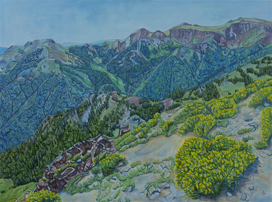 Original art for sale at UGallery.com   Alpine Flowers by Crystal DiPietro   $4,600   oil painting   36' h x 48' w   ..\art\oil-painting-Alpine-Flowers