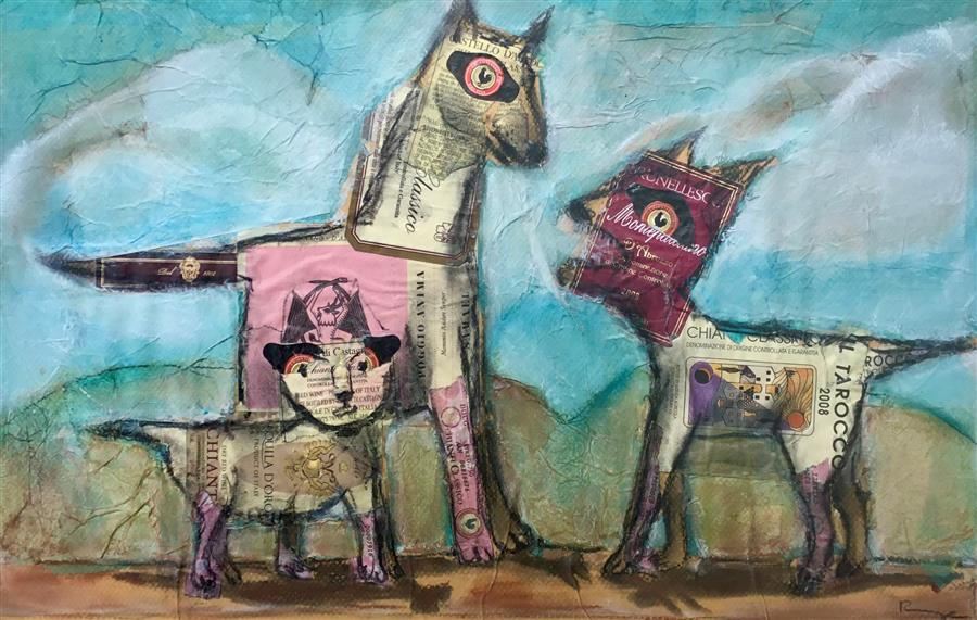 Original art for sale at UGallery.com | Tre Cani by Libby Ramage | $475 | mixed media artwork | 11.5' h x 19' w | ..\art\mixed-media-artwork-Tre-Cani