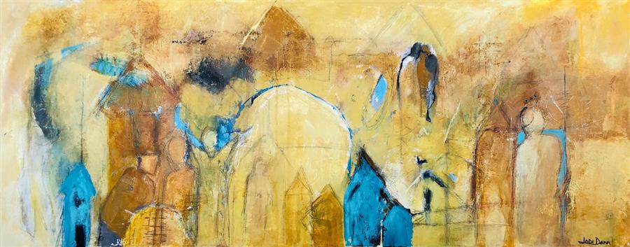 Original art for sale at UGallery.com | And So They Gathered by Jodi  Dann | $1,475 | mixed media artwork | 16' h x 40' w | ..\art\mixed-media-artwork-And-So-They-Gathered