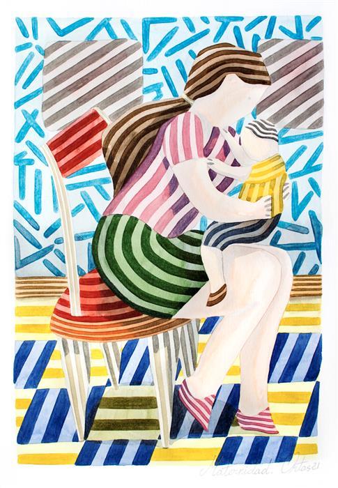Original art for sale at UGallery.com | Motherhood by Javier Ortas | $1,175 | watercolor painting | 19.68' h x 13.77' w | ..\art\watercolor-painting-Motherhood