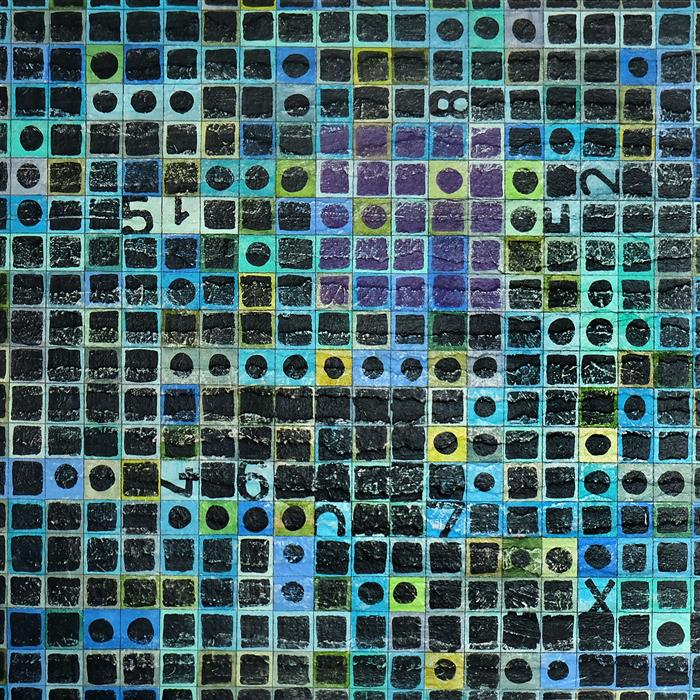 Original art for sale at UGallery.com | Linear Diagram by Terri Bell | $325 | mixed media artwork | 12' h x 12' w | ..\art\mixed-media-artwork-Linear-Diagram