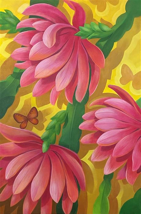 Original art for sale at UGallery.com | Cactus Flower by Johnny Karwan | $1,700 | acrylic painting | 36' h x 24' w | ..\art\acrylic-painting-Cactus-Flower