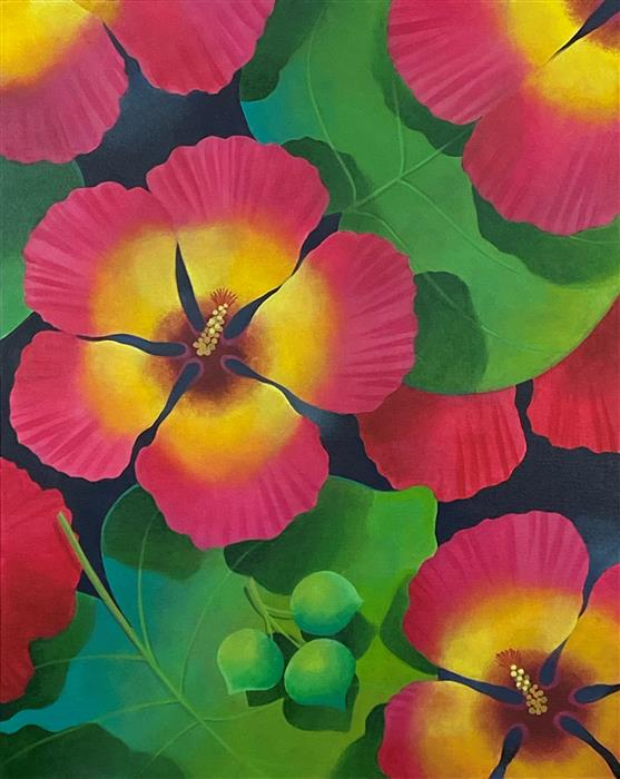 Original art for sale at UGallery.com | Hibiscus Dream by Johnny Karwan | $1,375 | acrylic painting | 30' h x 24' w | ..\art\acrylic-painting-Hibiscus-Dream