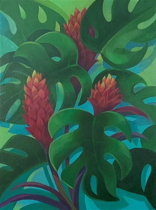 Original art for sale at UGallery.com   Monstera & Ginger by Johnny Karwan   $900   acrylic painting   24' h x 18' w   ..\art\acrylic-painting-Monstera-Ginger