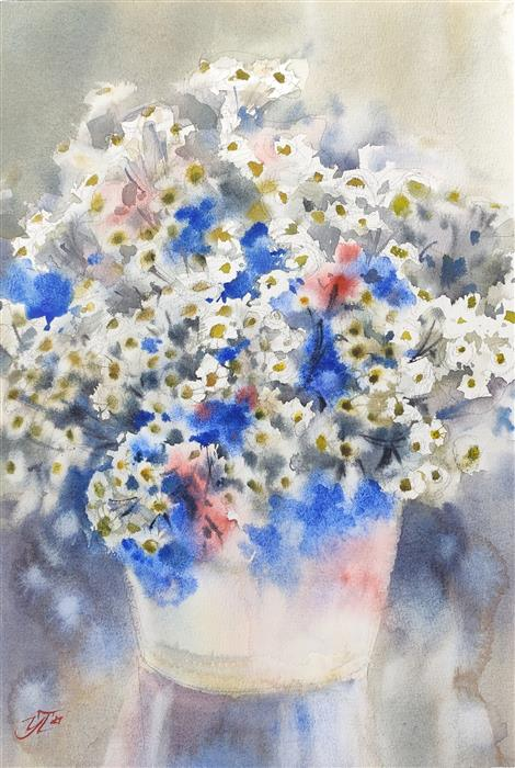 Original art for sale at UGallery.com   Chamomile Cloud by Irina Pronina   $500   watercolor painting   15' h x 10' w   ..\art\watercolor-painting-Chamomile-Cloud