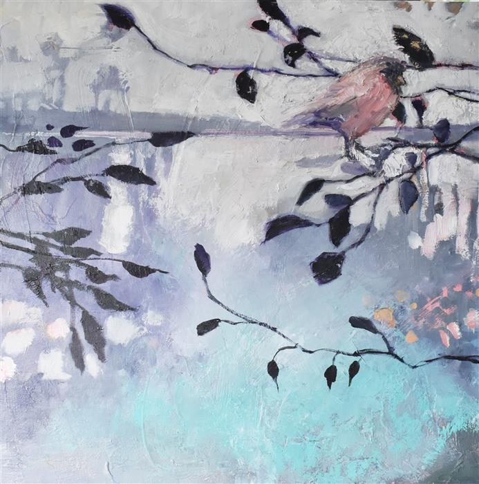 Original art for sale at UGallery.com | Pink Bird by Mary Pratt | $950 | oil painting | 24' h x 24' w | ..\art\oil-painting-Pink-Bird