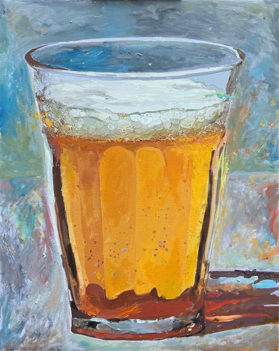 Original art for sale at UGallery.com | Light/Beer by Keith Thomson | $900 | mixed media artwork | 20' h x 16' w | ..\art\mixed-media-artwork-Light-Beer