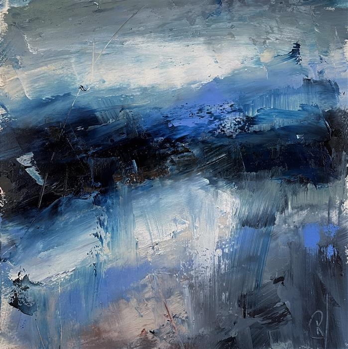 Original art for sale at UGallery.com | Layers of Blue by Ronda Waiksnis | $275 | oil painting | 10' h x 10' w | ..\art\oil-painting-Layers-of-Blue