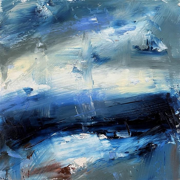 Original art for sale at UGallery.com | Layers of Blue, II by Ronda Waiksnis | $275 | oil painting | 10' h x 10' w | ..\art\oil-painting-Layers-of-Blue-II