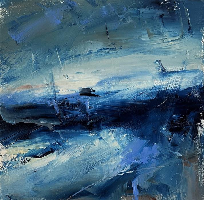 Original art for sale at UGallery.com   Layers of Blue, III by Ronda Waiksnis   $275   oil painting   10' h x 10' w   ..\art\oil-painting-Layers-of-Blue-III