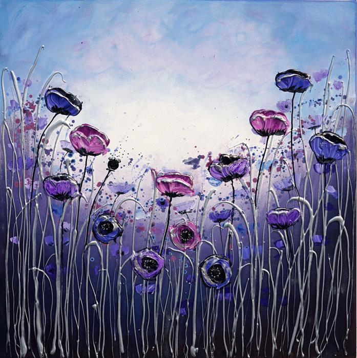 Original art for sale at UGallery.com | Gentle Poppies by Amanda Dagg | $650 | acrylic painting | 24' h x 24' w | ..\art\acrylic-painting-Gentle-Poppies