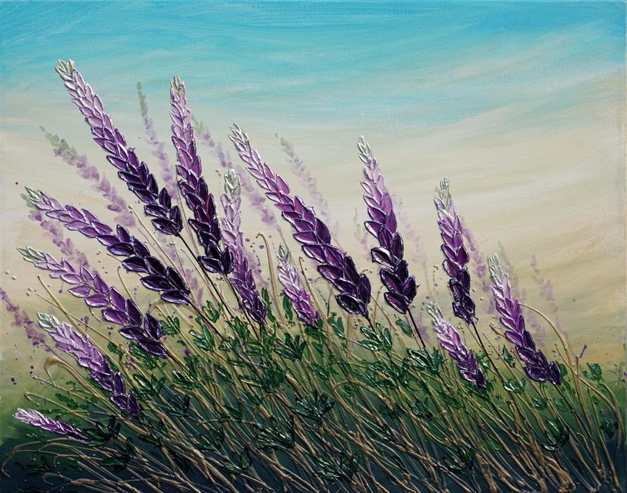 Original art for sale at UGallery.com | Spring Lupins by Amanda Dagg | $625 | acrylic painting | 22' h x 24' w | ..\art\acrylic-painting-Spring-Lupins