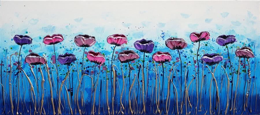 Original art for sale at UGallery.com | Floral Dance by Amanda Dagg | $700 | acrylic painting | 16' h x 36' w | ..\art\acrylic-painting-Floral-Dance-71834